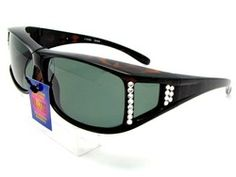 Rectangle shaped sunglasses for glasses with UV400 polarized protection with bling.