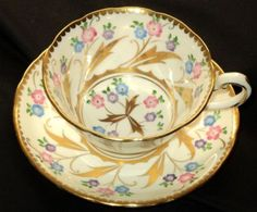Royal Chelsea GOLD HPT PASTEL FLOWER Tea cup and saucer