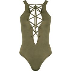 Dakota Suedette Lace-Up Bodysuit ($21) ❤ liked on Polyvore featuring intimates, shapewear, bodysuit, tops, one piece, shirts, bodies and green