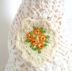 Brooch embroidered/hand knitted primrose - orange by Laviniaslegacy on Etsy