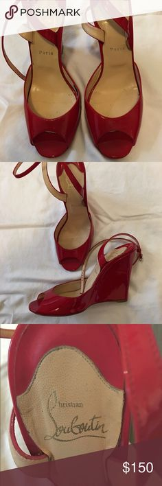 Christian Louboutin Red Patent Leather Wedges Authentic Christian Louboutin Red Patent Leather Wedges with Ankle Strap - Purchased for a Wedding - Worn Twice - Excellent Condition - No Scratches or Scuff Marks - Size 38 (8M) - No Trades Christian Louboutin Shoes Wedges
