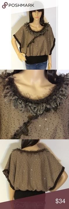 BEAUTIFUL DOLMAN SLEEVE SWEATER BY FORLA/FRANCE Gorgeous SEQUIN embellished sweater with tons of frill and character in the trim. Gently used condition. Made in France Forla Sweaters Crew & Scoop Necks