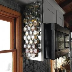 Wall Hanging Spice Rack: Includes 24 Large Magnetic Glass Jars Filled with Organic Spices + Wall Plate Base Spice Rack Gift, Spice Storage, Spice Organization, Spice Racks, Food Storage, Kitchen Furniture, Kitchen Decor, Kitchen Ideas, Cheap Kitchen