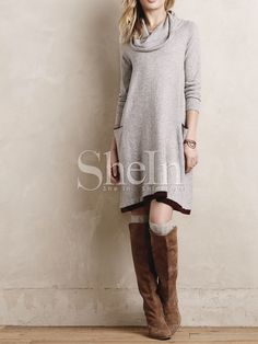 Shop Grey Turtleneck Pockets Casual Dress online. SheIn offers Grey Turtleneck Pockets Casual Dress & more to fit your fashionable needs.