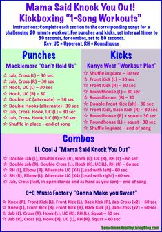 1 Song Kickboxing Workouts: 20 minutes of cardio blasting kickboxing set to…