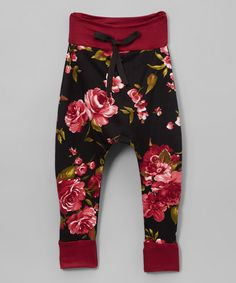 Look at this Black Floral Joggers - Infant, Toddler & Girls on #zulily today!