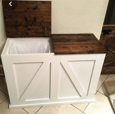 [orginial_title] – Ana White Double Bin Trash and Recycling Bin Furniture Projects, Home Projects, Diy Furniture, Furniture Storage, Kitchen Furniture, Modern Furniture, Furniture Design, Home Renovation, Home Remodeling