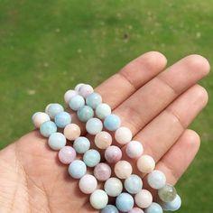 Natural Multi Color Beryl Round Beads 8mm Healing Lucky Point Gemstone Handmade Bracelet Jewelry