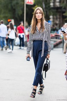 giorgia tordini in stripes and high waisted trousers