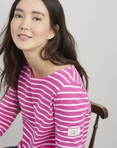 Joules Harbour Jersey Top Pink Stripe Cream Joules Clothing, Sailor Style, Joules Uk, Sailor Fashion, Striped Jersey, Disney Bound, Women's Tops, Pink Stripes, Lakes