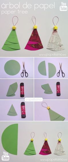 Easy crafts children how to make Christmas paper tree ornament - Oscar Wallin Origami Christmas Ornament, Christmas Paper, Winter Christmas, Christmas Ornaments, Christmas Trees, Christmas Projects, Holiday Crafts, Paper Tree, Christmas Tree Decorations