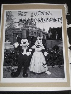 """If you send an invite to Disney World or Disney Land for Minnie & Mickey, this is what you'll receive in the mail, an autographed picture and a """"Just Married"""" button. Here are the addresses you can mail your invites to: Disneyland: Micky & Minnie The Walt Disney Company 500 South Buena Vista Street Burbank, California 91521 Disney World: The Magic Kingdom C/O Mickey & Minnie Mouse 1675 N Buena Vista Drive Lake Buena Vista, FL 32830"""