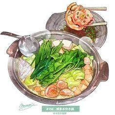 Cute Food, Yummy Food, Food Sketch, Watercolor Food, Food Painting, Food Drawing, Drawing Tips, Food Illustrations, Aesthetic Food