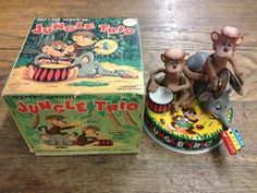 Linemar Jungle Trio Musical Band  Battery Op Tin Toy from 60s  ebay
