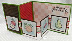 #clubscrap, orchard, basket, apples, watercolor technique, fancy fold card double z card