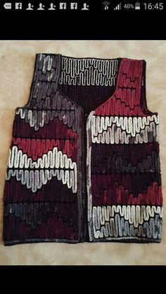 Zincir isi yelek Plaid Crochet, Crochet Jacket, Crochet Cardigan, Knit Crochet, Baby Knitting Patterns, Hand Knitting, Crochet Patterns, Crochet World, Beautiful Crochet