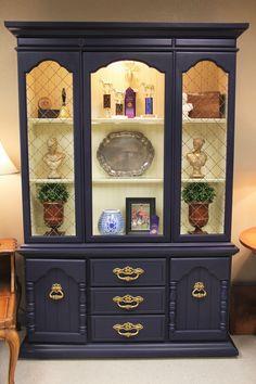 china cabinet shape of cuttout with lattice filler. Blue Painted Furniture, Refurbished Furniture, Paint Furniture, Repurposed Furniture, Furniture Projects, Furniture Makeover, Furniture Design, China Cabinet Redo, Painted China Cabinets