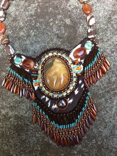 Native American Inspired Necklace - Stallion - Bead Embroidery - Hand Carved Aventurine Horse - Jasper Carnelian Gemstone Bib Necklace OOAK by HollyBeanDesign on Etsy