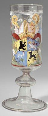 Stem goblet, painted and enamelled, with crest of the Abbot of St Gallen, 1676.