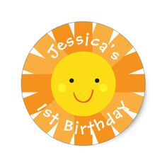 Sunshine Themed Birthday Sticker- Bday Labels Round Sticker. Click through to find matching games, favors, thank you cards, inserts, decor, and more. Or shop our 1000+ designs for all of life's journeys. Weddings, birthdays, new babies, anniversaries, and more. Only at Aesthetic Journeys