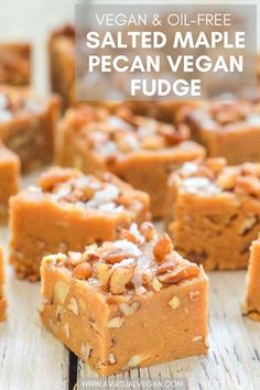 The most amazing vegan and oil-free salted maple pecan fudge. It's ridiculously easy to make and tastes so decadent! #fudge #vegan #oilfree #healthy #healthyrecipe