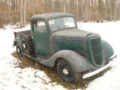 1935 Ford Pickup-Sale or Trade-Virginia - posted in Buy/Sell: Solid project-pushed outside 20 years ago so that the deceased owners wife's MiniVan could stay in garage. Some rust in cab corner and bottom of cowl. Motor Stuck from sitting. Fiberglass rear fenders. 79K indicated miles. Headlights missing in photos are in box on floor. Was probably restored in late 60's or ealy 70's-still has shiny green paint on wheels and inside of doors/cab and firewall. Appears to be correct 3...