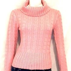 "❤️💕💞Sele Pink Long Sleeves Turtleneck Sweater. This turtleneck sweater by Sele is absolutely stunning. It has a little sparkle to it and never been worn. 78% Acrylic, 14% Nylon, 5% Lurex and 3% Spandex. Armpit to armpit 15"", Sweater Length 21"", Sleeve Length 25"". Sele Sweaters Cowl & Turtlenecks"