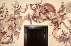 Mural painting: vikings, artist Horia Ghelu.