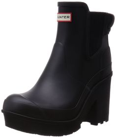 Womens Hunter Original Block Heel Chelsea Gloss Wellington Ankle Boots -  Black - 7 - 38 -- Check out the image by visiting the link.