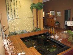 The Best Reason to Have Indoor Pond Design Indoor Water Features, Pond Water Features, Pond Design, House Design, Living Room Images, Living Rooms, Indoor Pond, Fish Pool, Japan Garden