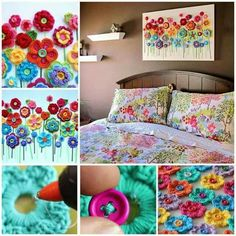 Crochet flowers on canvas or wood.