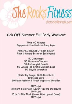 Great 60 Minute Workout that only requires a jump rope & dumbbells! #sheROCKS #strongisbeautiful