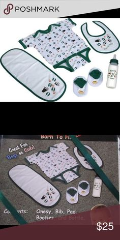 """5-Piece Baby Gift Set Born to Hunt Born to hunt Design Baby Onsey. Bib, Pad, Booties, and BPA Free Bottle combo Pack is the perfect gift for the littlest hunter in your life. Made from 100% cotton, this 0 to 6 month combo pack is packaged in a beautiful color gift display box with matching ribbon. Bib, Pad, and Bottle have the phrase """"BORN TO HUNT"""" across the front is foot prints detail. Bobble lure design is also on the Bottle and Booties…"""