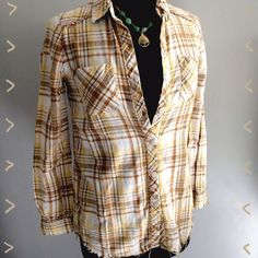 Free People Yellow Plaid Top Button down yellow plaid top with snap buttons in the back. Beautiful multiple textures and fabrics in this everyday piece. Free People Tops Tees - Long Sleeve