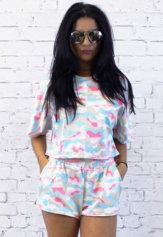 Camo Print Top & Shorts Co-ord Set in Neutral, Pink & Blue