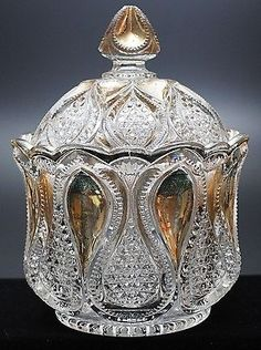 U.S. GLASS #15070  NEW JERSEY (OMN) aka Loops and Drops U.S. Glass Co., circa 1900 Crystal Glassware, Antique Glassware, Glass Company, Tea Service, Pressed Glass, Early American, Cut Glass, Sugar Bowl, Clear Crystal