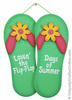 "8 1/2"" x 11"" If you love the flip flop days of summer, then you will love these handmade wood flip flops. These beautiful handmade flip flops are made of wood. Handmade flip flops may be displayed indoors as well as outdoors, because they are painted with outdoor paint. Flip flops are very colorful and long lasting. These neon green flip flops have  a pink strap.  Flip flops have an addition 3d look to them with the yellow flowers attached to the strap.  Display the flip flops next to your…"