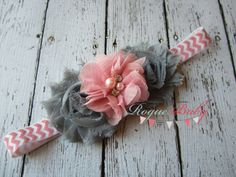 Light Pink & Gray Chevron Headband -  Photo Prop - Newborn Infant Baby Toddler Girls Adult Flower Girl Wedding
