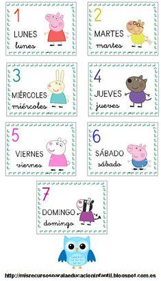 ¡Descárgalo ya! Los días de la semana - Els dies de la setmana - The days of the week - Peppa Pig - Láminas para el aula