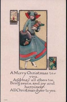 Antique Postcard Merry Christmas to You Great Fashion Art Deco Style Embossed | eBay
