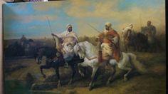 Tableau Orientaliste Huile sur Toile XXème ANONYME Guerriers Fantasia 90X60 cms