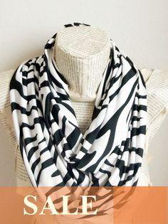Animal Print Zebra Jersey Scarf Infinity Scarf Summer by HeraScarf