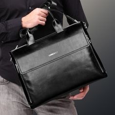 Famous brand genuine leather briefcases designer man briefcase black leather handbag for men dress laptop shoulder bag B00025