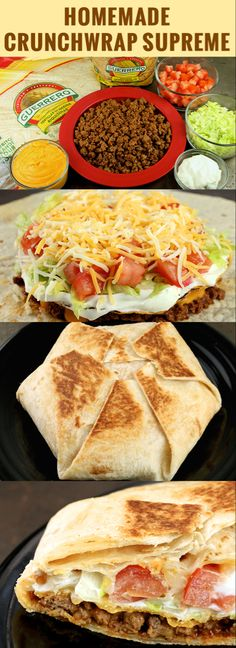 Homemade Crunchwrap Supreme Recipe easy to substitute ingredients to make this r. - Homemade Crunchwrap Supreme Recipe easy to substitute ingredients to make this recipe gluten and or - Crunchwrap Recipe, Homemade Crunchwrap Supreme, Taco Bell Crunchwrap, Wallpaper Food, Beef Recipes, Cooking Recipes, Healthy Recipes, Cooking Tips, Quick Food Recipes