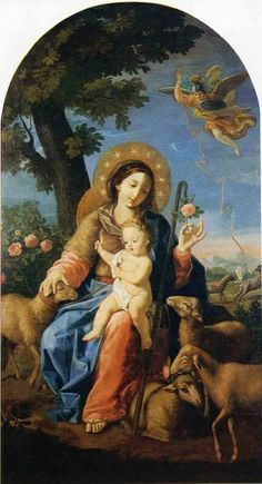 La Divina Pastorella An century painting of Mary as the Divine Shepherdess from the Benedictine monastery of Sant'Angelo in Pontano, Italy. Blessed Mother Mary, Divine Mother, Blessed Virgin Mary, Religious Images, Religious Icons, Religious Art, Virgin Mary Art, Christian Artwork, Queen Of Heaven