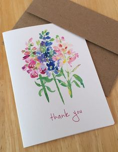 English Garden Thank You Note Cards - Watercolor Floral Thank You Cards - Delphinium Foxglove Stock Flower Note Cards - Box of 6 or 8 - Watercolour Watercolor Projects, Easy Watercolor, Watercolor Artwork, Watercolor Flowers, Watercolor Portraits, Watercolor Landscape, Watercolor Birthday Cards, Watercolor Cards, Thank You Note Cards