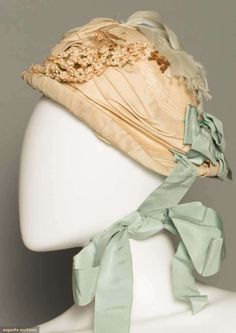 Painted straw, domed oval crown, small up turned brim, blue ribbon, small cloth flower & feather trim. Victorian Hats, Victorian Women, Victorian Fashion, Vintage Fashion, Clothing And Textile, Antique Clothing, Historical Clothing, 1870s Fashion, Bathing Costumes