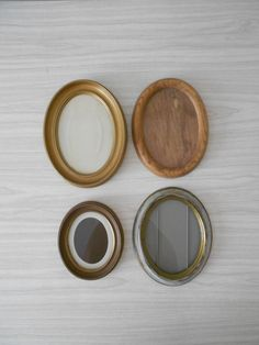 set of vintage brown oval picture frames / collage by simplychi