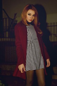 Houndstooth and burgundy cardi