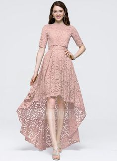 A-Line/Princess Scoop Neck Asymmetrical Zipper Up Sleeves Sleeves No Dusty Rose Spring Summer Fall General Plus Lace Prom Dresses Dress Brukat, Kebaya Dress, Dress Outfits, Lace Dress, Fashion Dresses, Batik Dress, Trendy Dresses, Simple Dresses, Beautiful Dresses